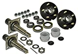 Rigid Hitch Pair of 5-Bolt On 5 Inch Hub Assembly (AKRD-350055F) Includes (2) Flanged 1-3/8 Inch to 1-1/16 Inch Tapered Spindles & Bearings