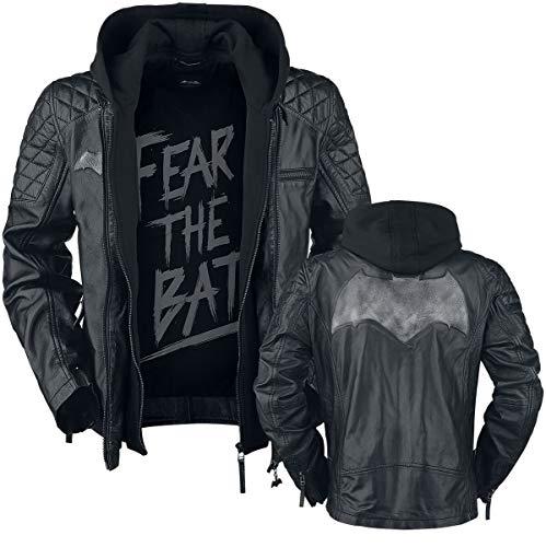 Batman Echtleder Jacke mit Kapuze und Logo schwarz - S