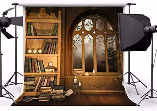 AOFOTO 7x10ft Vintage Magic Room Background Witch Magical Potion Skull Photography Backdrop Medieval Wizard Candle Bookshelf Retro Books Halloween Photo Studio Props Wallpaper Boy Girl Child Portrait
