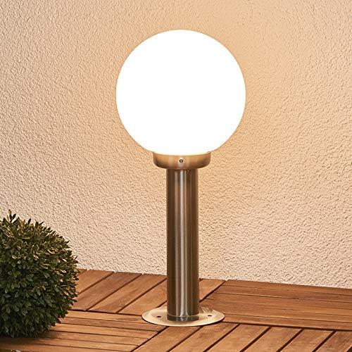 Lindby Außenleuchte \'Vedran\' (spritzwassergeschützt) (Modern) in Alu aus Glas (1 flammig, E27, A++) - Wegeleuchte, Pollerleuchte, Wegelampe, Sockelleuchte