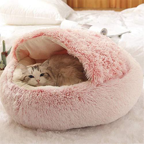 ZLYY 2 en 1 cueva para gatos, red de peluche, cama para gatos, manta antideslizante para sofá, cama cálida, saco de dormir 50 x 50 cm, color rosa