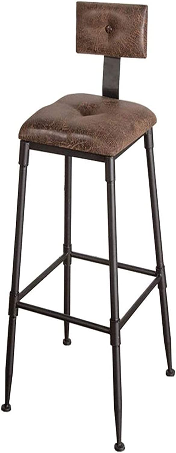 Stool Bar Stool Retro Wrought Iron High Foot Pu Artificial Leather Mat Kitchen Back Metal Dining Chair Seat Height 75cm +
