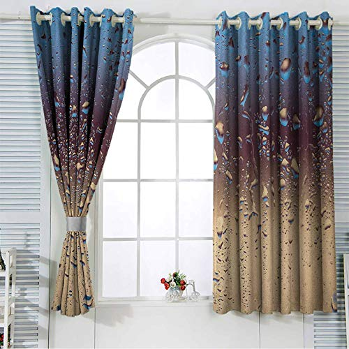 Rain Thermal Insulated Curtains Close Up Rain Drops on Glass Natural Sprays Sphere Contrasting Colors Picture Room Darkening Curtain for Living Room 52x84 Inch