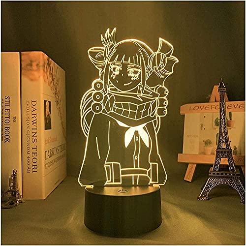 JYDNBGLS Lâmpada de ilusão 3D LED luz noturna para decoração de quarto presente luz noturna Anime 3D lâmpada Himiko Toga My Hero Academia 16 cores iluminação