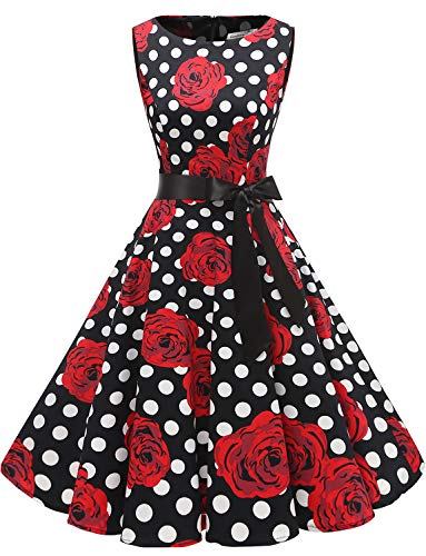 Gardenwed Vestidos Mujer Sin Mangas Cóctel Fiesta Retro Pin Up Black Rose Dot XS