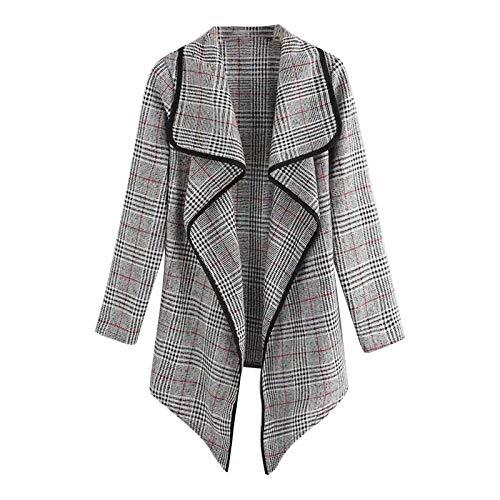 BakingMon Women Fashion Plaid Cardigan Coat Lapel Jacket Short Windbreaker Womens Jacket Cardigan Outwear Gray