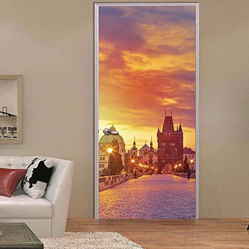 3D Tür Aufkleber Prag Poster Wandbild Tapete dreidimensionale home Hintergrund Schlafzimmer Tür Dekoration selbstklebende PVC selbstklebende Stereo er 77x200cm