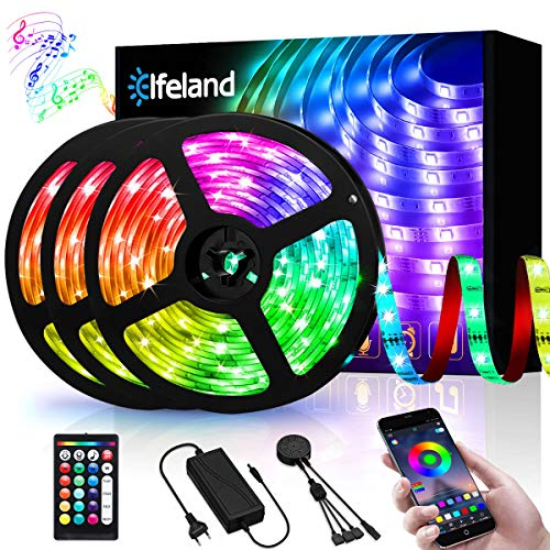 Elfeland Rgb LED Strip, 15M LED Streifen, LED Stripes steuerbar via App bluetooth, 5050SMD 450 Leds Bänder Sync mit Musik, TV Hintergrundbeleuchtung Band Lichtband mit Fernbedienung Full Kit 3x5M