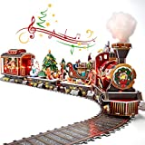 3D Puzzle LED Santa Express Train Colorful LED Lights with Christmas Melody, 3D Puzzles for Adults Kids Christmas Steam Train Set Model Kit with Greeting Card, Desk Christmas Decor