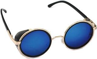 نظارات شمسية عاكسة دائرية نظارات سايبر نظارات Steampunk نظارات قديمة الطراز (عدسات عدسات مراة زرقاء)