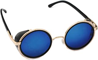 Mirror lens Round Glasses Cyber Goggles Steampunk Sunglasses Vintage Retro(Gold Frame Green Blue Mirror Lens)