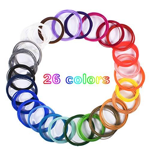 Dioxide Filamento de pluma 3D, 26 Colores Impresora PLA 3D consumibles