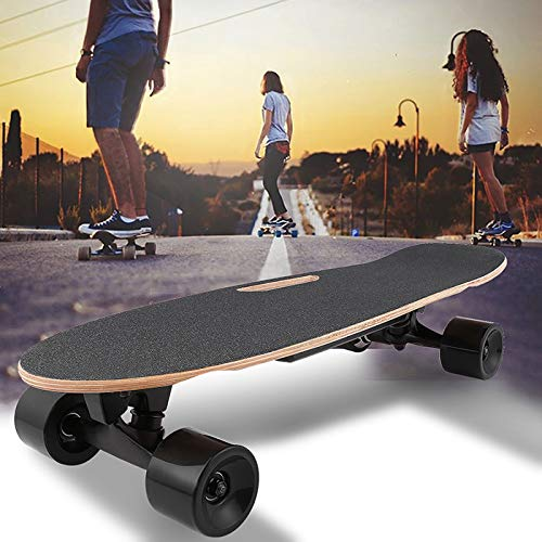 shaofu Electric Skateboard Youth Electric Longboard with Wireless Remote Control, 12 MPH Top Speed, 10 Miles Range, 7 Layers Maple Longboard(US Stock) (Dark Gray)