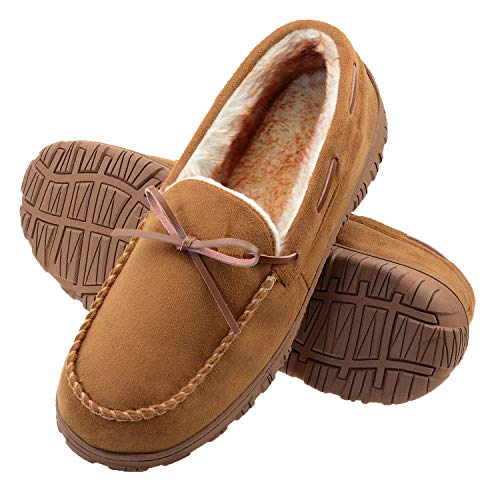 VLLY Mens Slippers Moccasins for Men Cozy Pile Lined with Microsuede Upper Indoor Outdoor Slip On House Shoes Brown Size 12