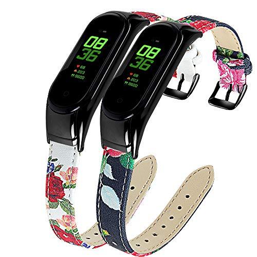 Ruentech Kompatibel mit Xiaomi Mi Band 3 / Mi Band 4 Armband Schlank Echtes Leder Armbands Ersatz Zubehör für Frauen Männer Mi Band 3/Mi Band 4 Uhrenarmbänder (2-B)