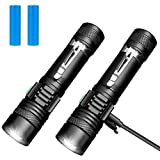 Winzwon Rechargeable LED Torch Super Bright LED Flashlight for Camping, Hiking, Fishing(18650 Battery Included) 2 Pack