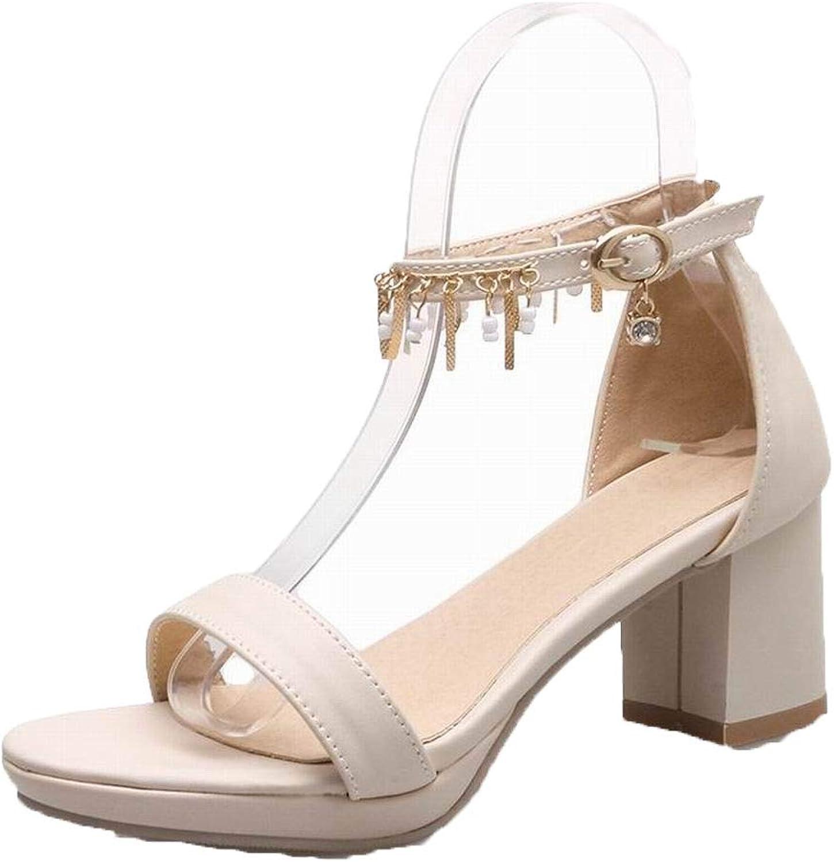 AllhqFashion Women's Pu Kitten-Heels Open-Toe Solid Buckle Sandals, FBULD015535