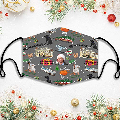 Fabric Face Dust Windproof, National Lampoon'S Christmas Vacation Cover, Christmas Vacation Characters Cover, Christmas Movie Cover, Reusable Washable Face Mouth Protection for Adult 5PC Filters