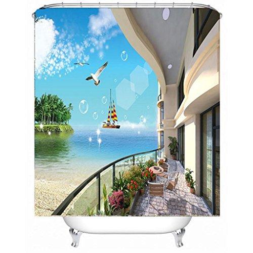 Met Love Simple Fashion 3D Stéréoscopique Seaside Cottage Pattern Salle de bain Rideau de douche imperméable à l'humidité Polyester Rideaux de douche