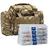 Dr.Fish Fishing Tackle Bag with 5 Trays Set 60 Fishing Lures Trout Spinners Crankbaits Swimbiats Spoons Shad Bass Freshwater Fishing Kit