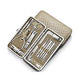ZNZN Set manicura Clavo Clippers Conjunto de Acero Inoxidable Mate 16 PC cortauñas y la inclinación Caja de Metal del uña del Dedo de Las podadoras de Corte, Kit de Cuidado Personal cortaúñas Set