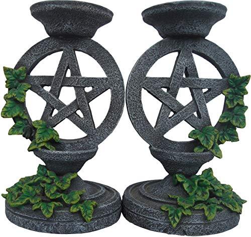 Nemesis Now NEM5177 Kerzenständer mit Pentagramm, 17 cm, Grau