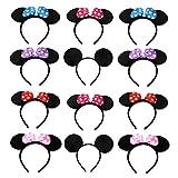 A 12 Pcs Diadema de Minnie, Diadema de Mickey, Orejas de Mouse, Orejas de Ratón de Dibujos Animados con Seis Puntos Blancos Populares Entre Los Niños (Seis Colores)