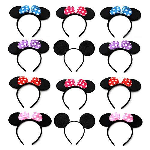 12 Pcs Oreilles Souris Noire, Mickey Oreilles, Bandeaux Minnie, Oreilles Minnie Mouse, Pour Anniversaire Baby Shower, Fournitures de Fête D'anniversaire, Les fêtes Entre Amis (Six Couleurs)