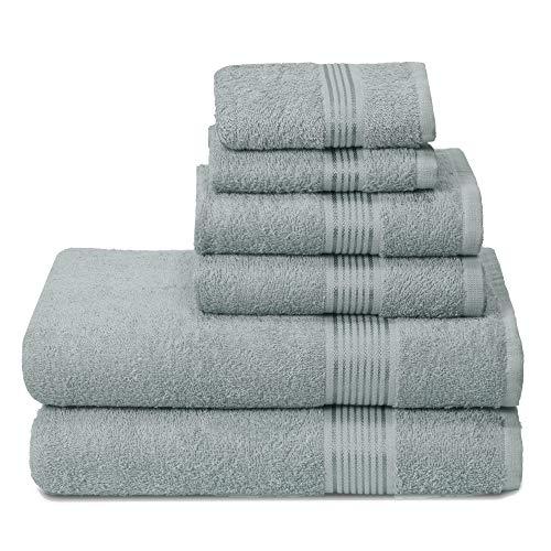 GLAMBURG Juego de 6 Toallas de algodón Ultra Suaves, Contiene 2 Toallas de baño de 70 x 140 cm, 2 Toallas de Mano de 40 x 60 cm y 2 Toallas de Lavado de 30 x 30 cm, Color Jade