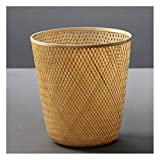 JKXWX Cubo Basura Trash Can Bambú Basura de bambú Ronda...
