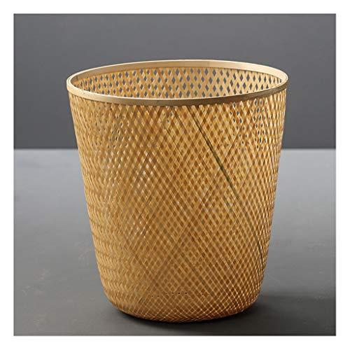 kerryshop Botes de Basura Bambú Basura de bambú Ronda Descubierta casa Sala de Estar Creativa Estilo Chino Dormitorio Cocina ratán Desperdicio Papel Cesta Bote de Basura para baño (Color : A)