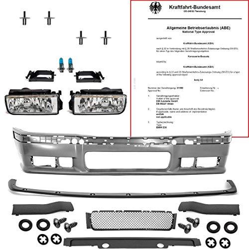 DM Autoteile E36 Parachoques delantero Sport Look incl. Labio GT Evo para M3 y faros antiniebla de cristal.