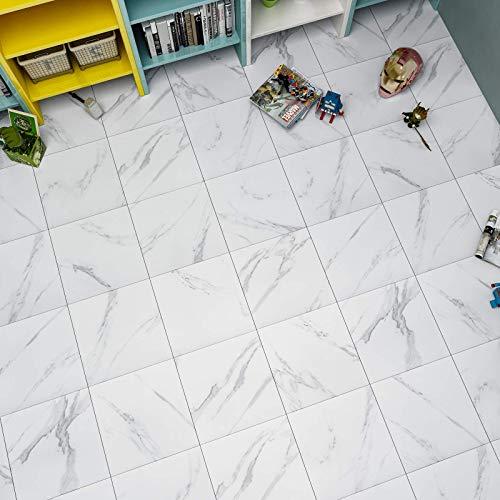 WESTICK White Marble Peel and Stick Floor Tile Home Decor Bedroom Living Room Vinyl Flooring Peel and Stick Non-Slip Wear-Resistant Peel&Stick Tiles 10 Sheets of 12