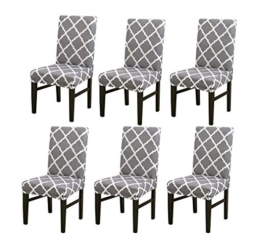 Vinnykud Universal Stretch Stuhlhussen 4er 6er Set Elastische Moderne Beschützer Stuhlbezug Stretch-Stuhlhusse Geometric Pattern Printing Abnehmbare Stuhlbezug