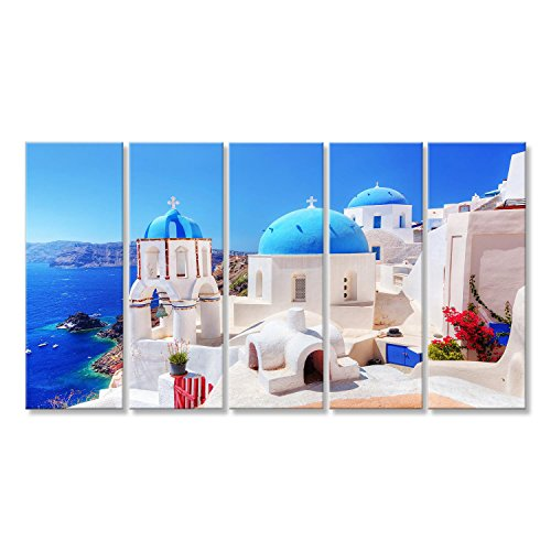 islandburner, Quadro moderno Città di Oia sull'isola di Santorini, in Grecia. Sta Stampa su tela Quadro JKF-IT