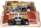 Dry Cured Gourmet Bacon 3 pack Sampler Hickory Smoked, Applewood Smoked, Hickory Smoked Peppered, 14 ounces each Thick cut Slow Smoked Quality Bacon made the Old-Fashioned way No Refrigeration required 10 to 12 strips per package No added Water Won't...