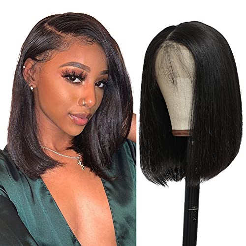 Short Bob 13x4 Lace Front Wigs Human Hair Brazilian Virgin Straight Lace Frontal Wig for Black Women Pre Plucked Bleached Knots with Baby Hair Natural Hairline 10 inch