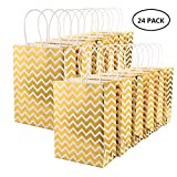 xnx - XNX 24 Pack Paper Christmas Gift Bags Gold Party Favor Bags Personalized Gift Bags Recyclable Goodie Bags for Birthdays, Weddings, Baby Showers,Shopping. (15 * 21 * 8cm Gold Wave)
