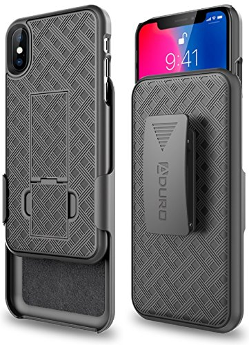 Aduro Combo Case & Holster for iPhone X/XS, Slim Shell & Swivel Belt Clip Holster, with Built-in Kickstand for Apple iPhone