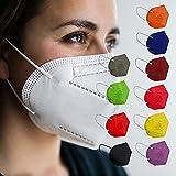 Sanatex Mascherina FFP2 100% Made in Italy Certificata CE0099 Altissimo Filtraggio Maschera FFP2 Bianche e Colorate 20 Pz (10 Colori)