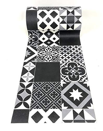 De'Carpet Vinilo PVC A Medida Alfombra FÁCIL Limpieza Antideslizante BALDOSA HIDRÁULICA Negra (50 CM Ancho) (3 Metros)