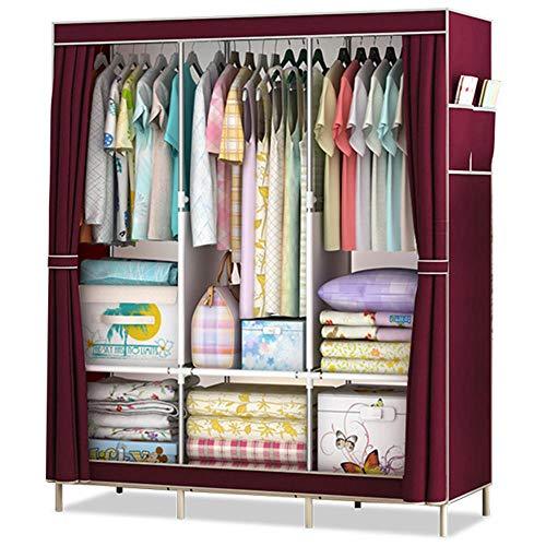 LMWB Stoffschrank Kleiderschrank, Fächern und Seitentasche, mit Kleiderstange Faltschrank Campingschrank, Schlafzimmer,125 x 45 x 168 cm, Weinrot -125