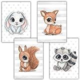 Frechdax® Kinderzimmer Deko 4er Set Poster Baby Wandbilder