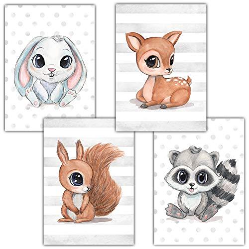 Frechdax® Kinderzimmer Deko 4er Set Poster Baby Wandbilder DIN A4 | Waldtiere Safari Afrika Tiere Tierposter (4er Set Hase, REH, Waschbär, Eichhörnchen)