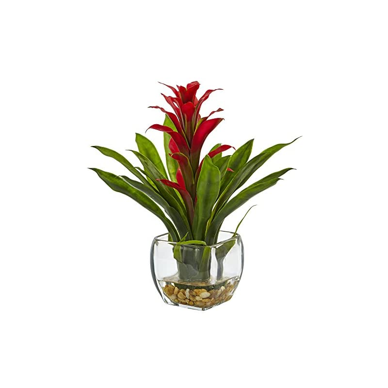 silk flower arrangements nearly natural 1 bromeliad with glass vase arrangement, 11 x 11 x 12, red