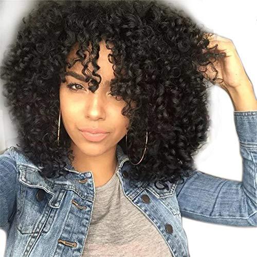 QXbecky Européenne et Américaine perruque noir dame mode réaliste naturel haute température soie fibre chimique respirant court bouclés cheveux couverture 30 cm