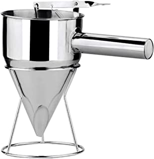 Martinimble Pancake Batter Dispenser,Stainless Steel Donut Cupcake Batter Dispenser Funnel Pancake Maker Helper Rack Spring-Loaded Handle