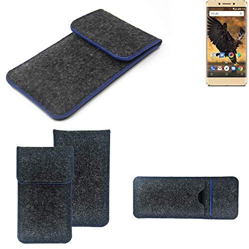 K-S-Trade Handy Schutz Hülle Für Allview P8 Pro Schutzhülle Handyhülle Filztasche Pouch Tasche Hülle Sleeve Filzhülle Dunkelgrau, Blauer Rand