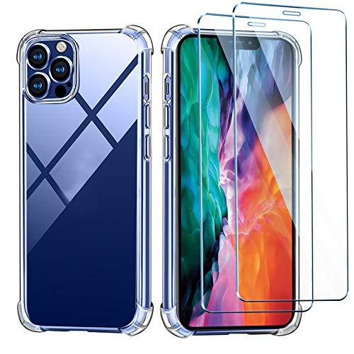 Leathlux Cover Compatibile con iPhone 12/12 PRO 6.1 Pouces Custodia con 2 Pezzi Pellicola Vetro Temperato, Morbido Silicone Protettivo Antiurto Bumper TPU Gel Smartphone Case, Trasparente