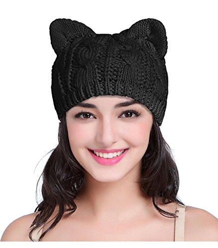 V28 Women Men Girls Boys Teens Cute Cat Ear Knit Cable Xmas Hat Cap Beanie Kittenear Black Medium